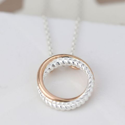 ROSE GOLD HOOP STERLING SILVER TWIST NECKLACE